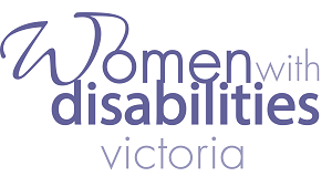 Women with Disabilities Victoria Logo. Name written in mauve