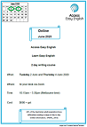 Flyer for 2 day Easy English online writing course 2 & 4 June, 2020