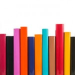bookshelf of colorful folders
