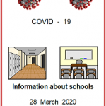 Easy English. COVID 19. front cover information about schools