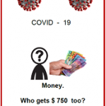 Easy Englsih fact sheet front cover COVID 19 front cover. Money. Who gets $750 too?