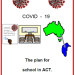 Easy English COVI19 poster. front cover The plan for school ACT May 2020