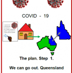Easy English fact sheet CVODI19 front cover. The plan. We can go out QLD. 9 May 2020