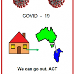 Easy Englsih COVID19 A4 poster. front ocver We can go out ACT May 2020