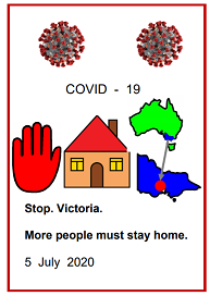 Easy English COVID19 fact sheet front cover Stop Vic More people must stay home 5 July 2020
