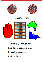 Easy English COVID19 fact sheet. front cover Victoria. People in Some housing towers must stay home. 5 July 2020