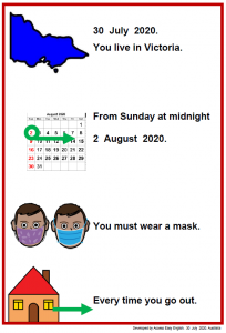 Easy English COVID19 A4 poster Vic. Everyone must wear a mask 30 July 2020