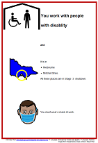 Easy English COVID19 A4 poster. Vic You work with pwd 17 July 2020