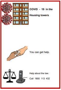 Easy English COVID19 A4 poster. Housing towers phone numbers for help