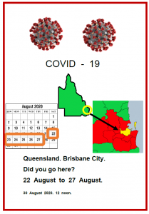 Easy English COVID19 fact sheet. front cover qld. Brisbane city 22 to 27 Aug on 30 Aug 2020