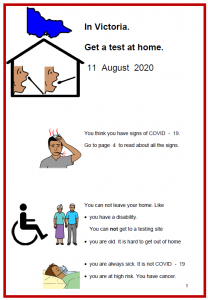 Easy English COVID19 A4 poster. poster vic test at home updated 11 Aug
