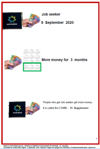 Easy English COVId19 A4 poster. MOney Job seeker updated 6 Sept 2020