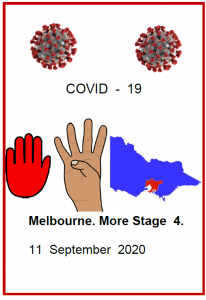 Easy English COVID19 fact sheet. front cover Melb More stage 4 11 sept 2020