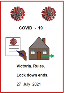 Front cover COVID19 rules in Easy English Lockdown ends July 2021